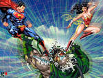 Superman and Wonder Woman against Doomsday