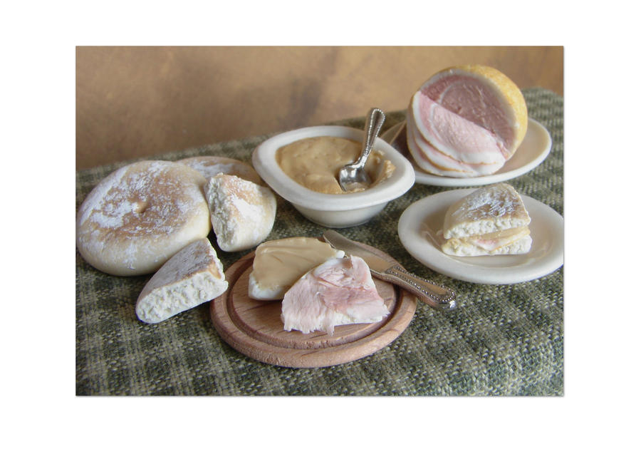Miniature Ham + PeasePudding by NJD-Miniatures