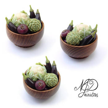 Aubergines, Red Onions, Cauliflower and Artichoke by NJD-Miniatures