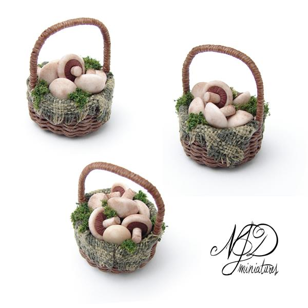 Open Cap Mushrooms in Basket - NJD Miniatures by NJD-Miniatures