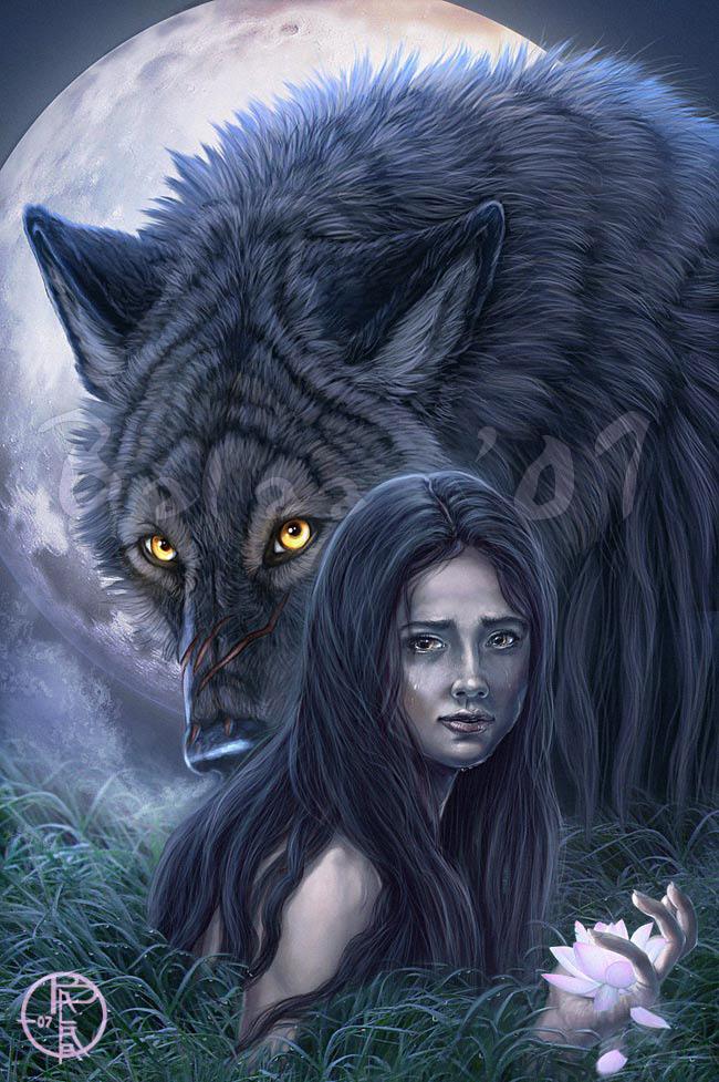 Фото Девочка с белым волком сверху за ними наблюдает дьявол
