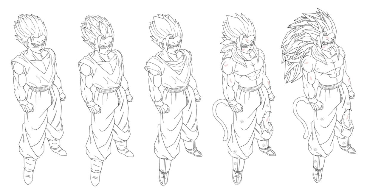 how to draw gohan super saiyan 2 full body