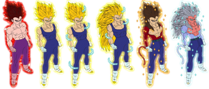 color vegeta all ssj1-ssj5