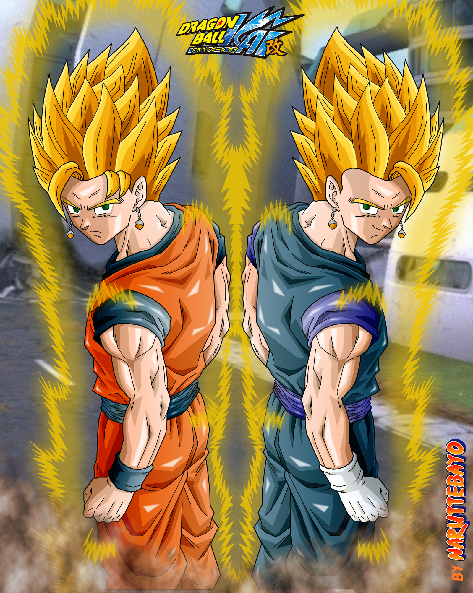 gokhan vegehan double fusion - back pose ssj by Naruttebayo67Goku And Gohan Fusion Ssj4