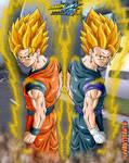 gokhan+vegehan double fusion - back pose ssj by Naruttebayo67