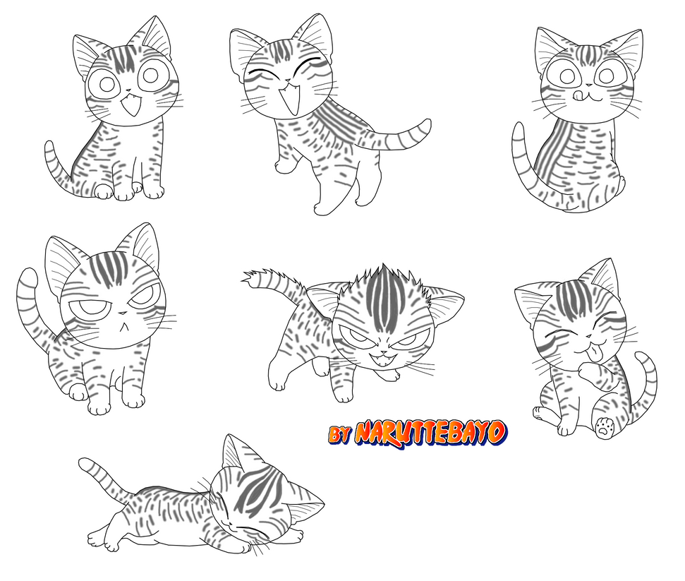 chi sushi cat colouring pages sketch coloring page