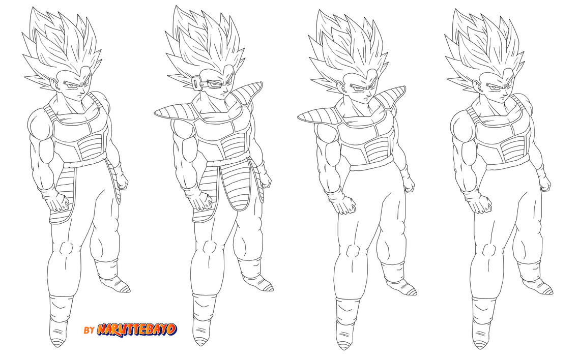 Lineart-vegeta Armored By Naruttebayo67 On DeviantArt