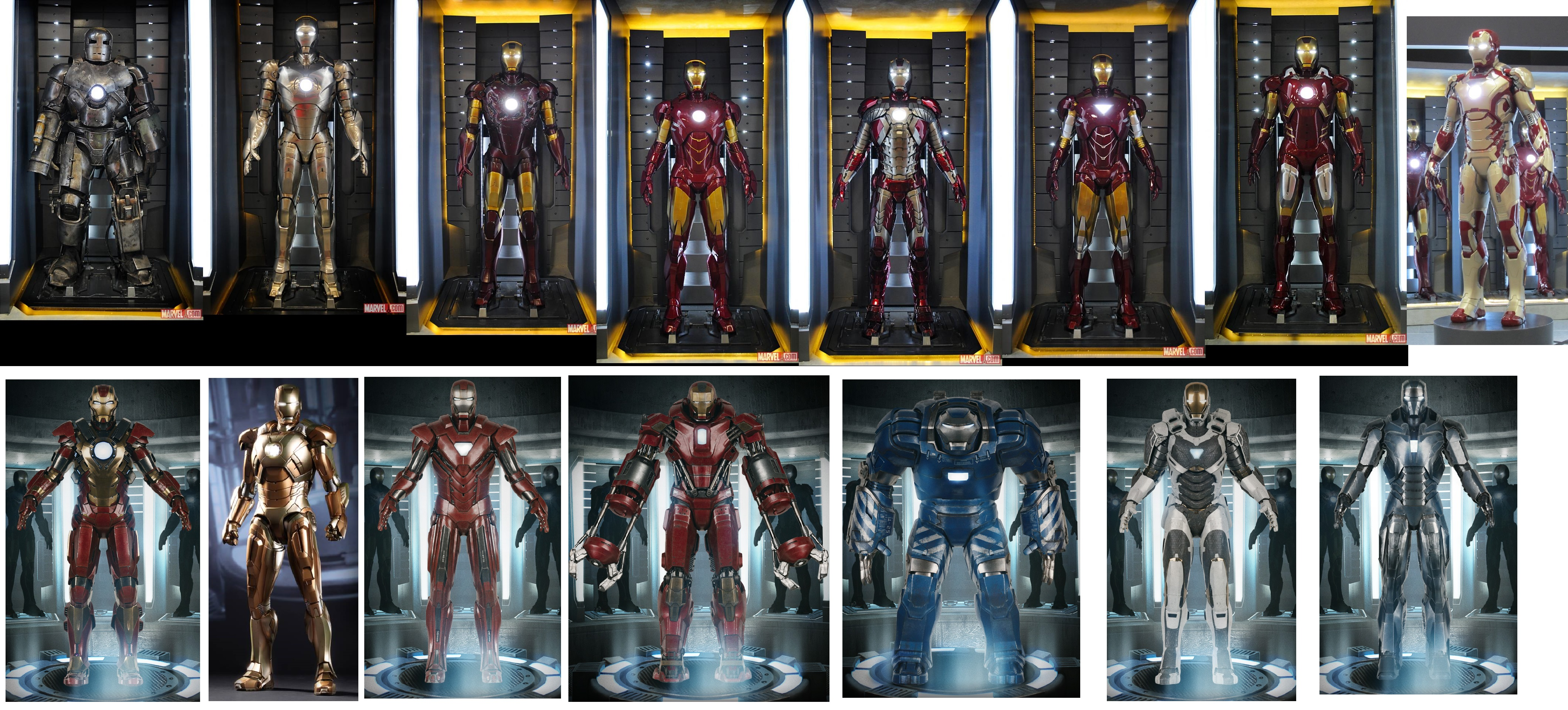 iron man suits mark 1 7 the image kid has it. Black Bedroom Furniture Sets. Home Design Ideas