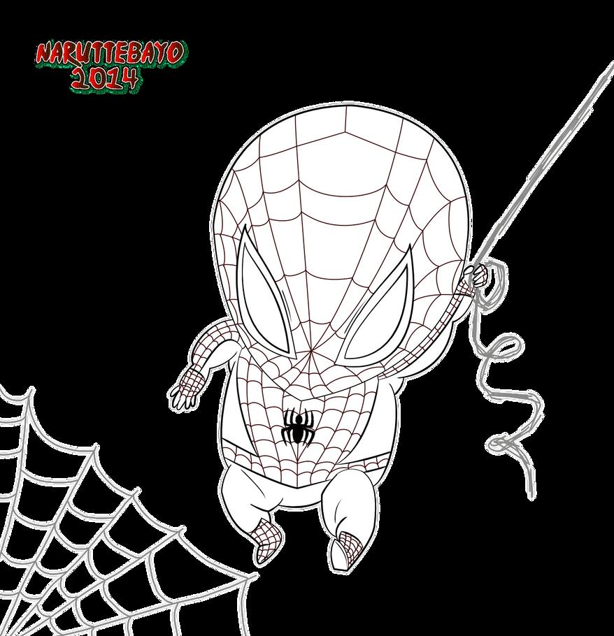 [lineart] Chibi Spiderman by Naruttebayo67