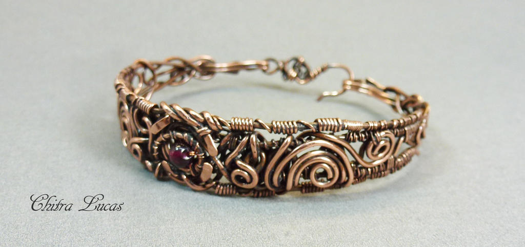Wire wrapped woven copper bracelet by Chitra-Lucas on DeviantArt