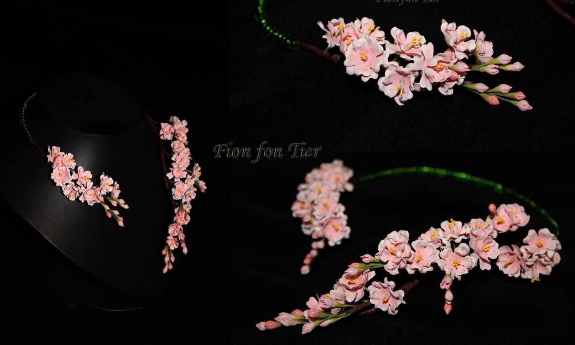 Sakura flowers necklace by fion-fon-tier