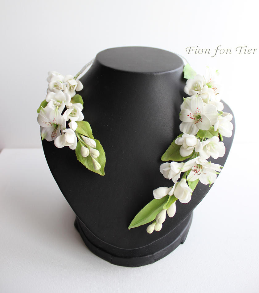 Alstroemeria and freesia blossom necklace by fion-fon-tier