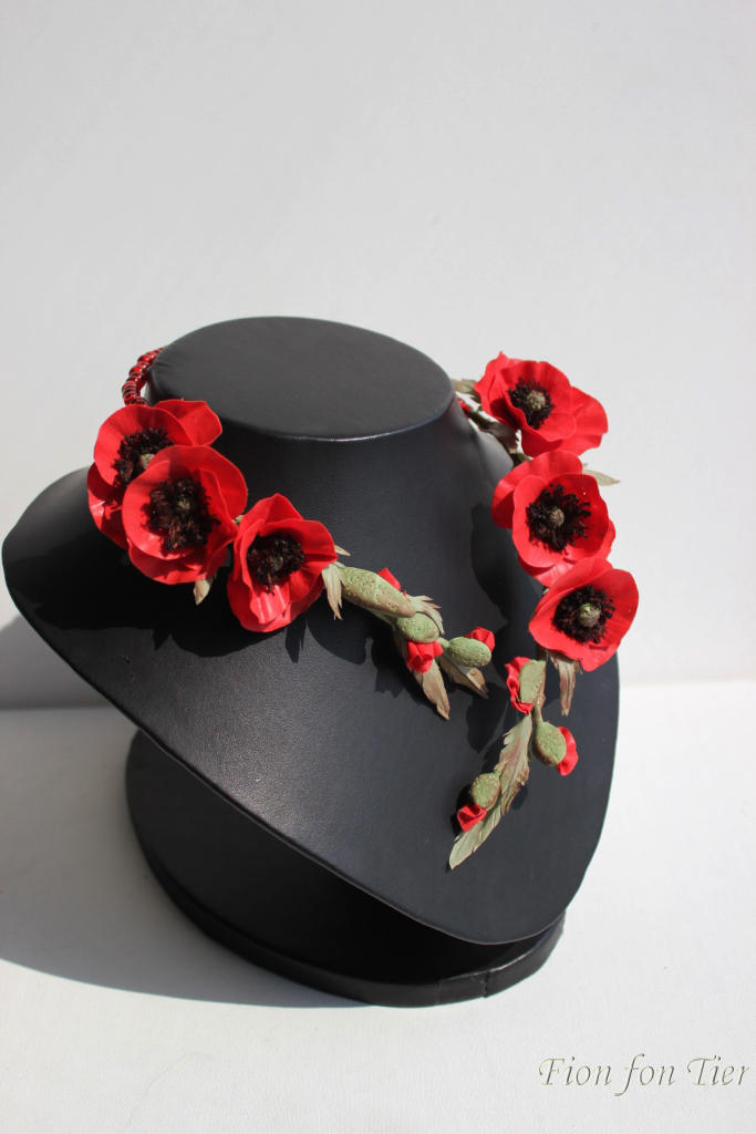 red poppy flowers necklace
