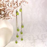 Triple Silver Green Teardrop Earrings
