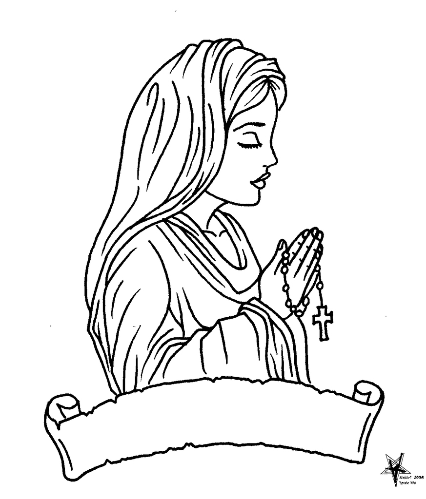 Line Drawing Virgin Mary : Virgin mary tattoo coloring pages