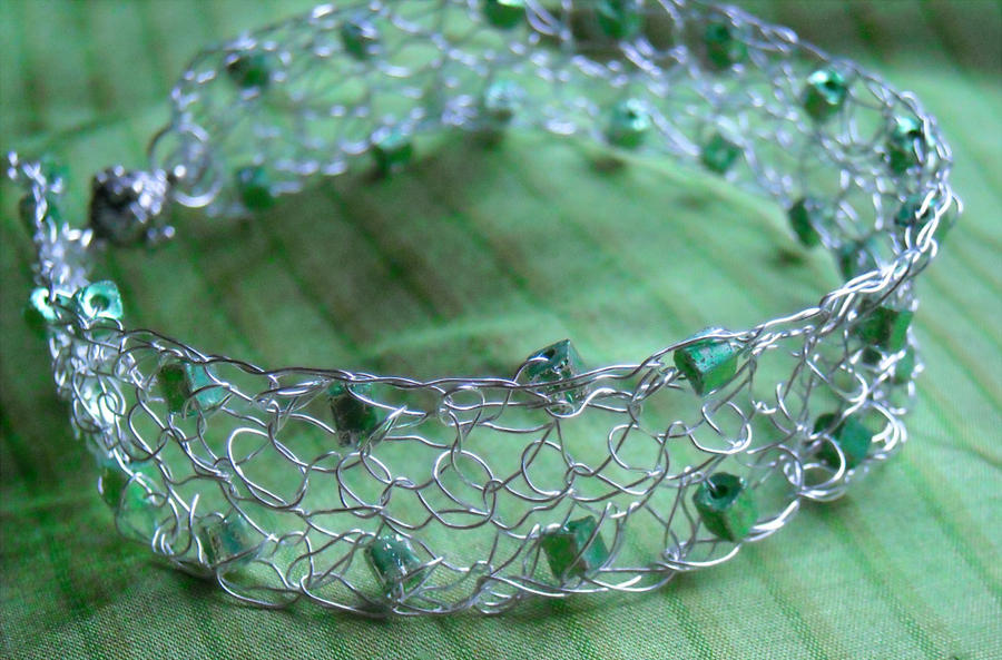 Crocheting Over Wire : Crocheted Wire Bracelet by ChocoboGoddess on DeviantArt