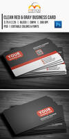 Clean Red Gray Business Card