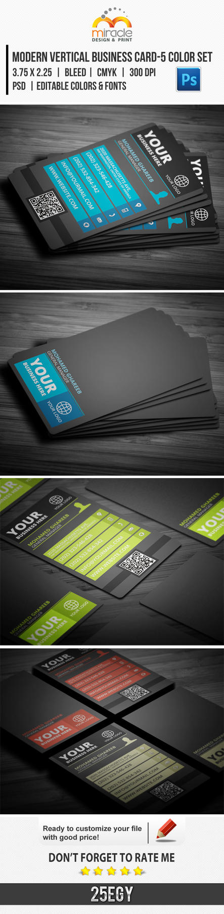 Modern Vertical Business Card-5 Color Set by EgYpToS