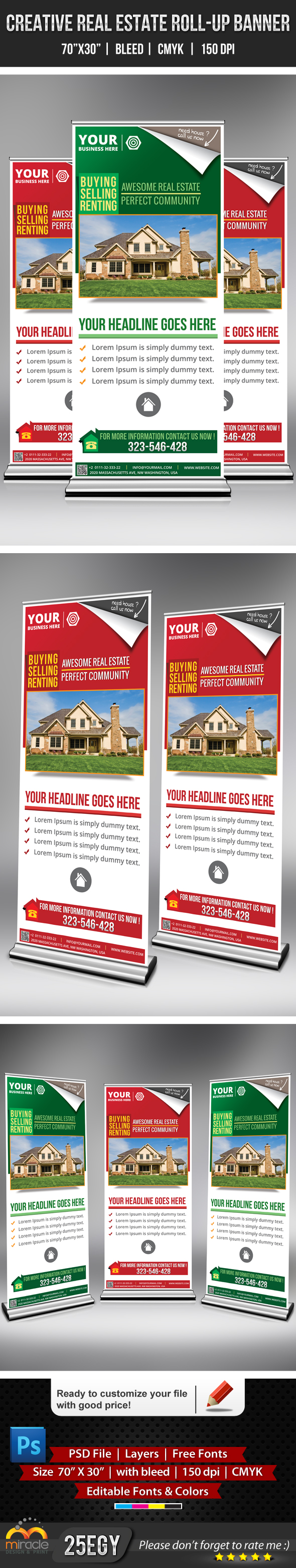 Real Estate Vertical Banner Real Estate Roll up Banner