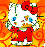 Evil Zombie Hello Kitty by clicketyclock