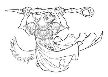 Avery as a Wizard Lineart WIP