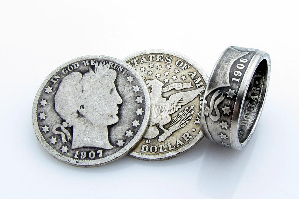 silver barber half dollar coin ring by tcscustoms on