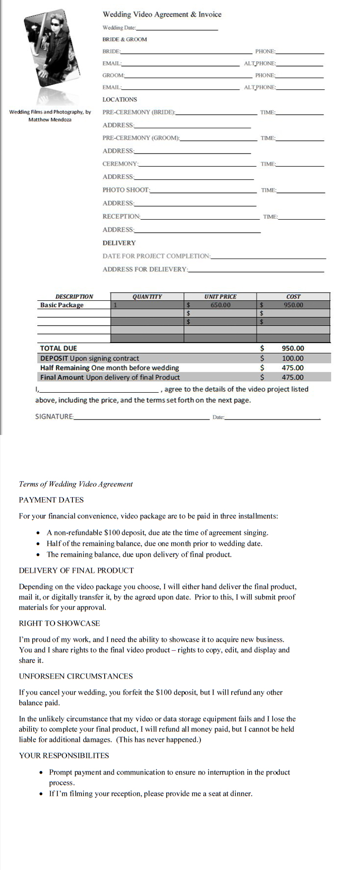 Invoice for wedding