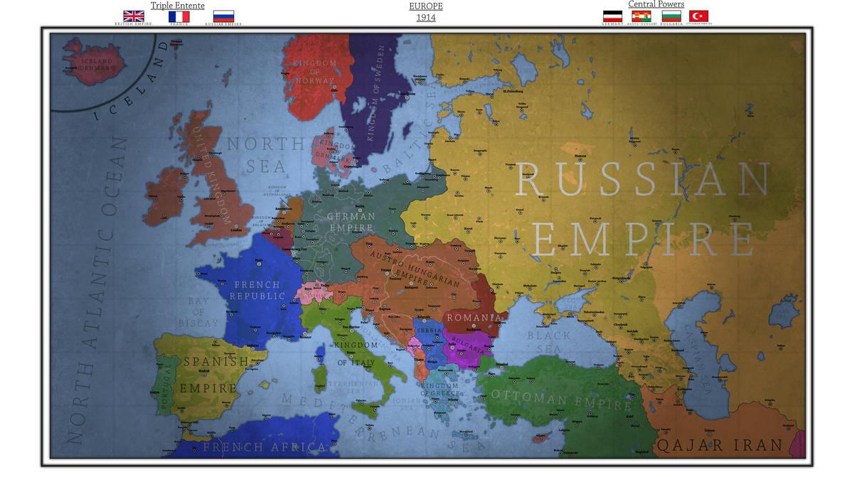 Map of Europe in 1914 Pre-World War I by Breakingerr on DeviantArt