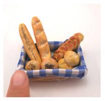 Miniature handmade basket, miniature bread by MiniSweetx