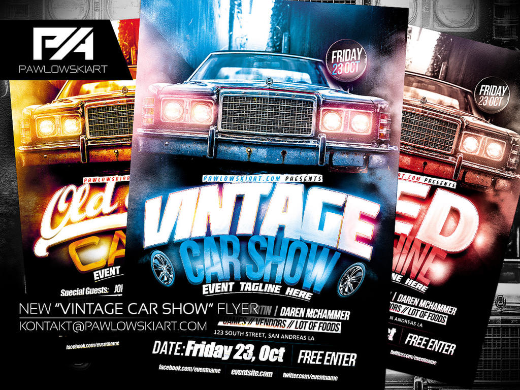 Vintage Car Show Event Flyer Template By Pawlowskiart On DeviantArt - Car show flyer background