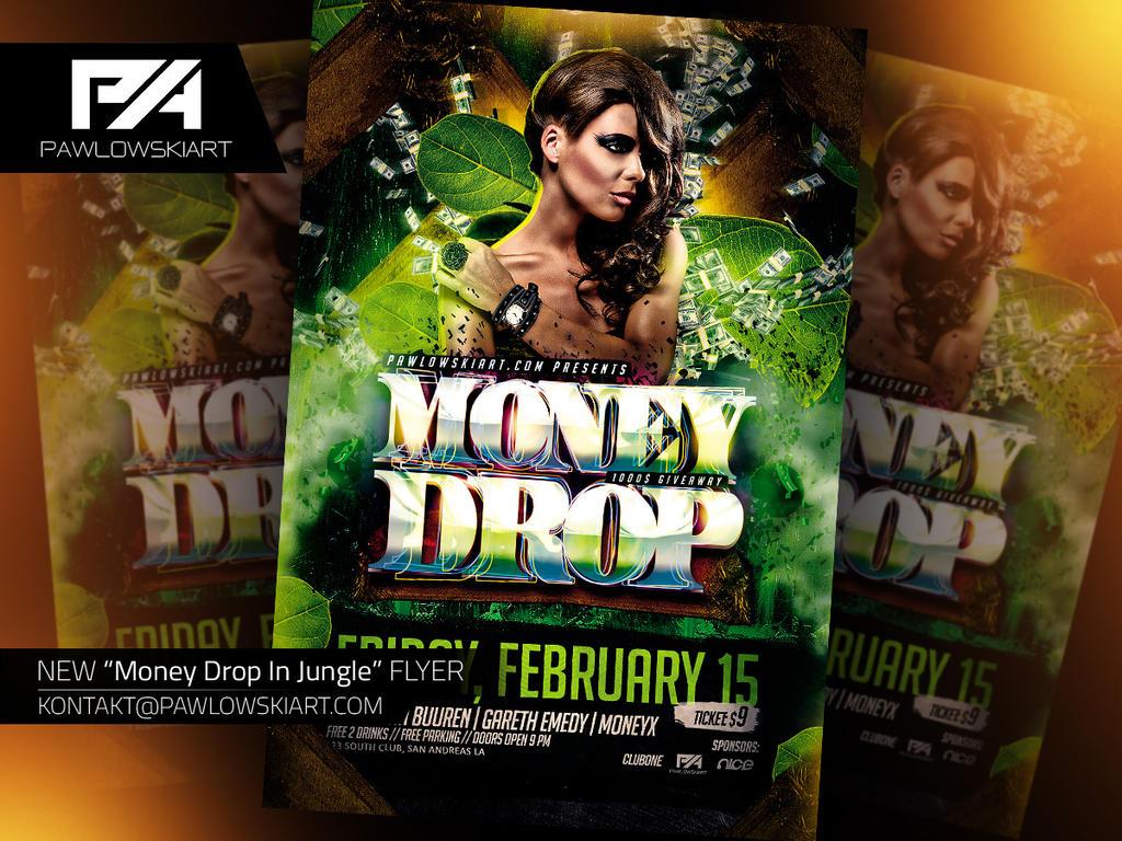 Money Drop In Jungle Flyer PSD Template By Pawlowskiart On DeviantArt - Money flyer template