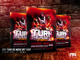 Turn The Music Up Party Flyer Template by pawlowskiart