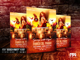 Beach Party/Spring Break Flyer Template by pawlowskiart