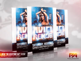 DJ Electro v4 Party Flyer PSD Template by pawlowskiart