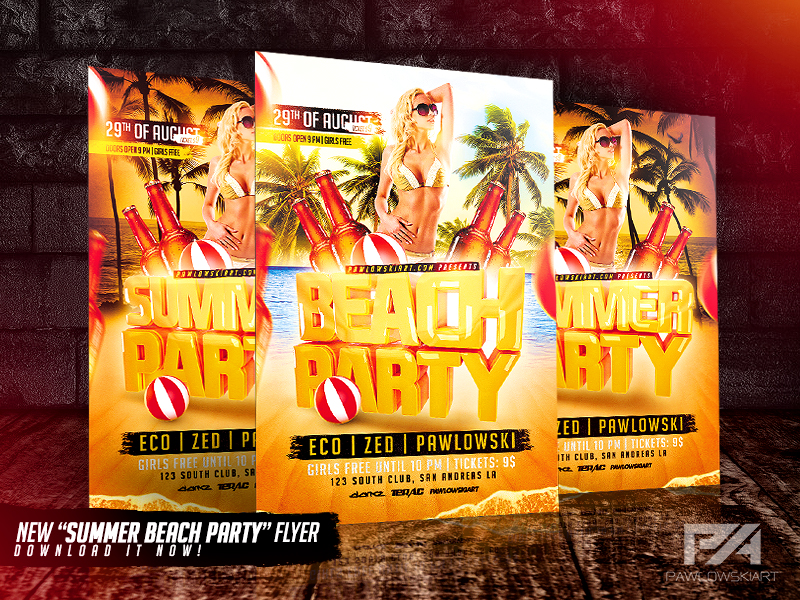 Summer Beach Party Flyer Template by pawlowskiart on DeviantArt – Beach Party Flyer Template