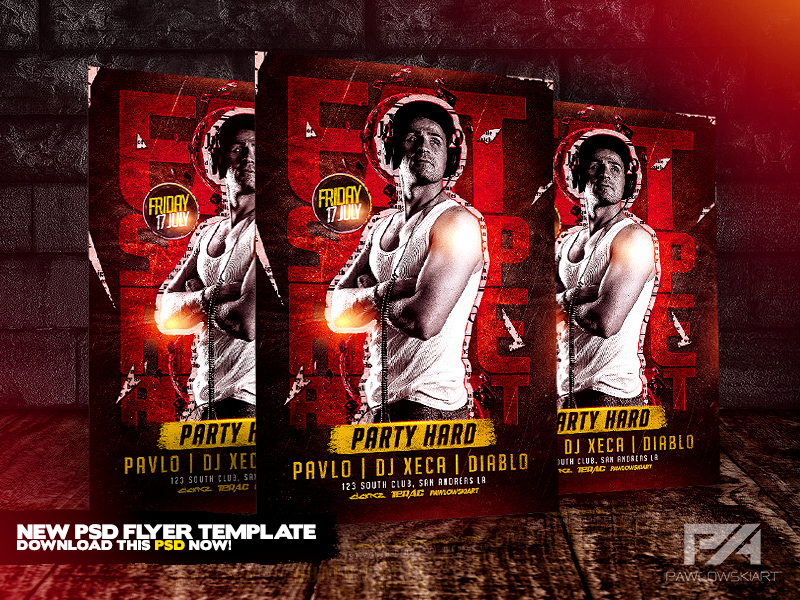 Eat Sleep Rave Repeat Party Hard Flyer Template By Pawlowskiart On