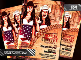 American Country Countdown Event Flyer Template by pawlowskiart