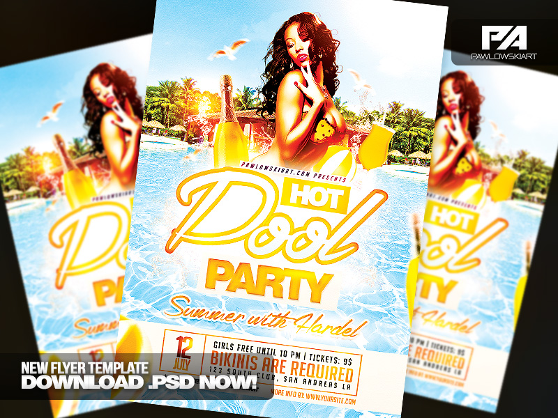 Hot Pool Party PSD Flyer Template by pawlowskiart on DeviantArt – Pool Party Flyer Template