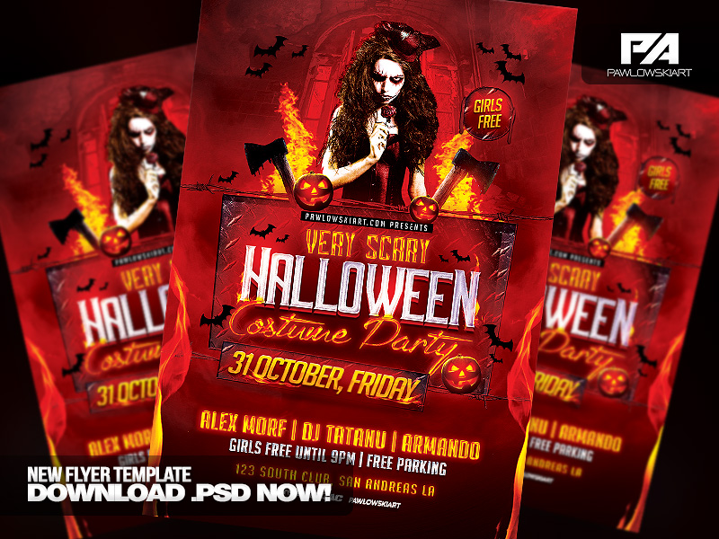 Very Scary Halloween Party Flyer Template by pawlowskiart on ...