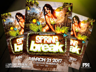Spring Break PSD Flyer Template by pawlowskiart