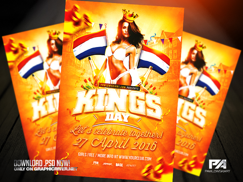 King's Day / KoningsDag Flyer Template (.psd) by pawlowskiart