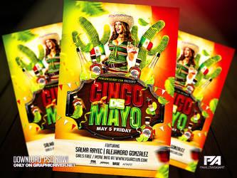 Cinco De Mayo PSD Flyer Template by pawlowskiart