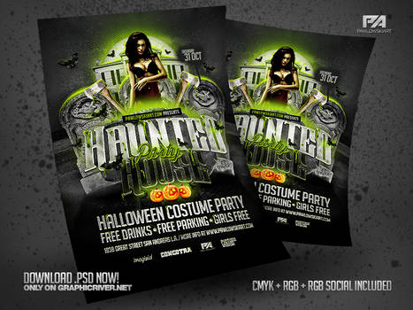 Haunted House Party Flyer PSD Templates