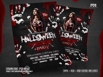 Halloween Massacre Party Flyer PSD Template by pawlowskiart