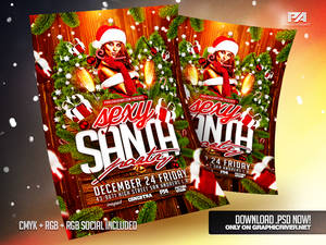 Sexy Santa Party Christmas Flyer Template