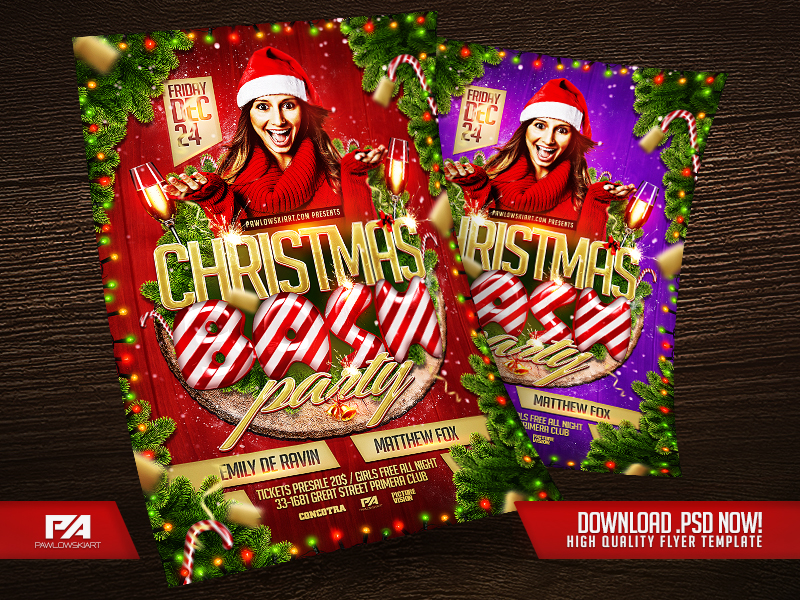 Christmas Bash Party Flyer Template by pawlowskiart