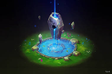 Isometric Ancient Fountain | video