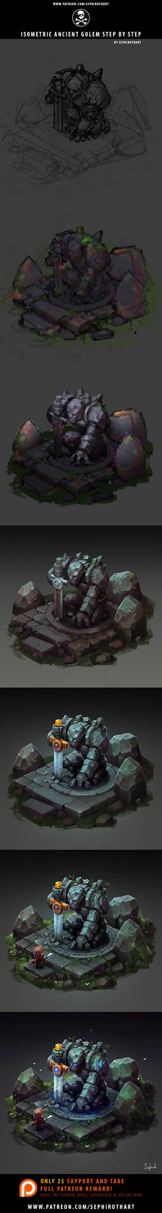 Isometric Golem Step-by-Step