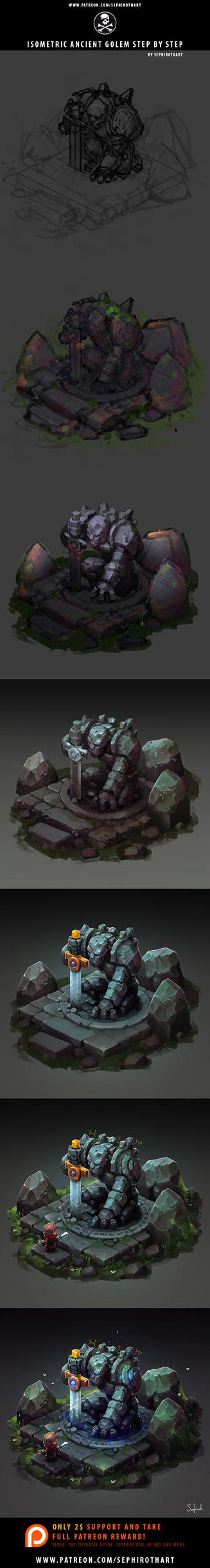 Isometric Golem Step-by-Step by Sephiroth-Art
