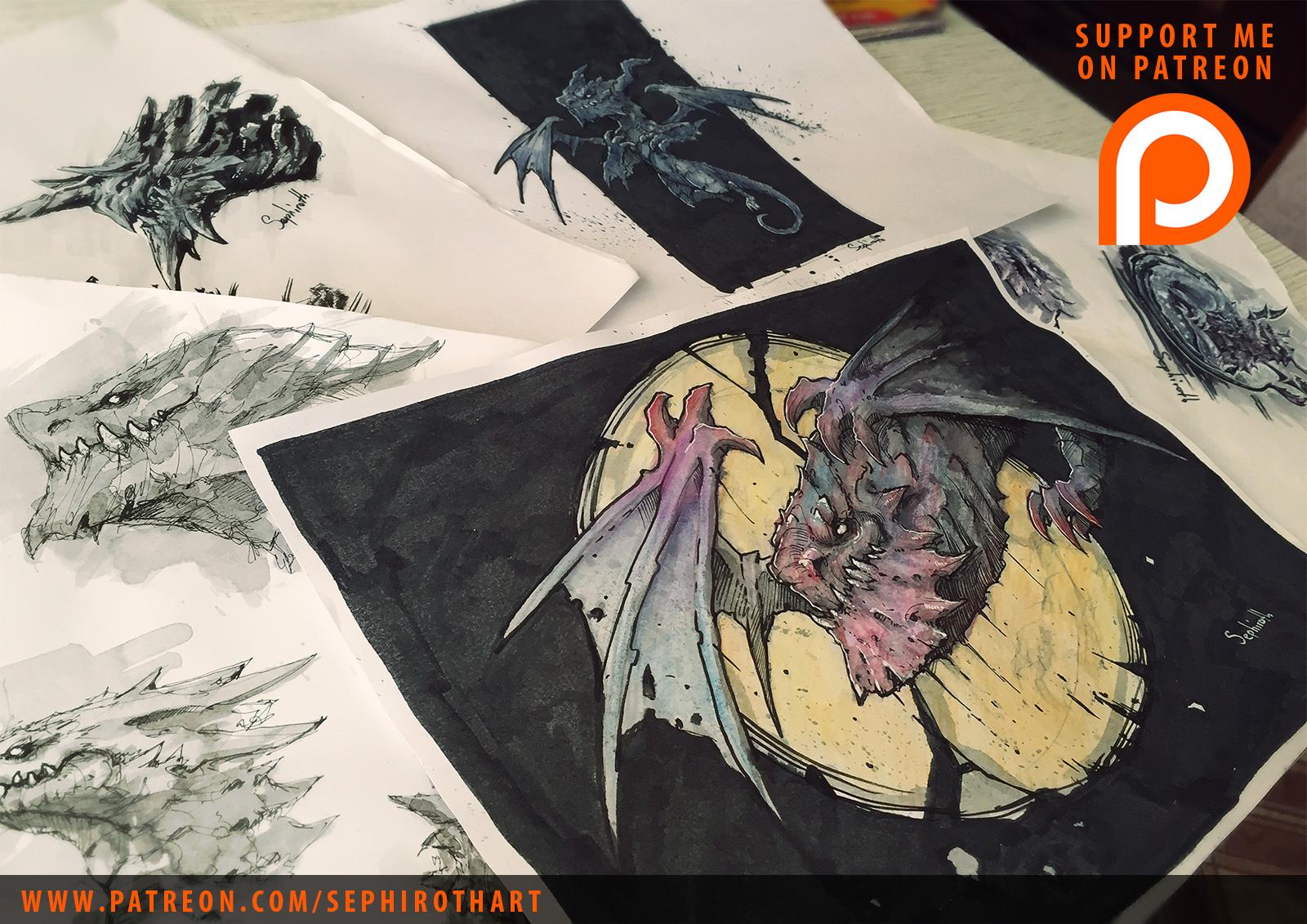 'XIII Dragons' Sketchbook WIP by Sephiroth-Art